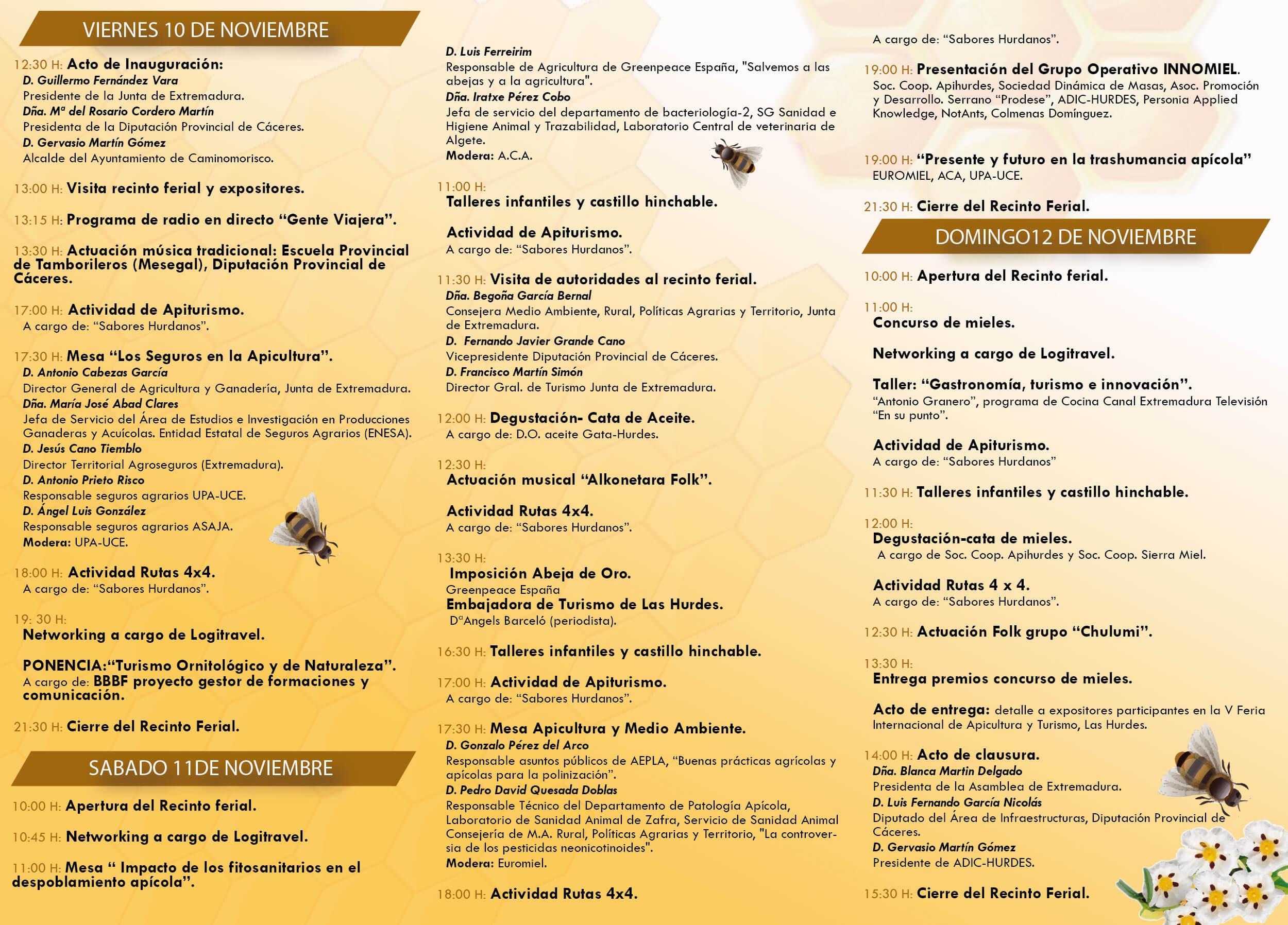 Actividades del programa de la V Feria Internacional de Apicultura y Turismo. Caminomorisco (Cáceres)